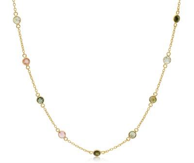 10072920 silver and yellow gold vermeil  neckchain set with tourmaline Ôé¼95.00
