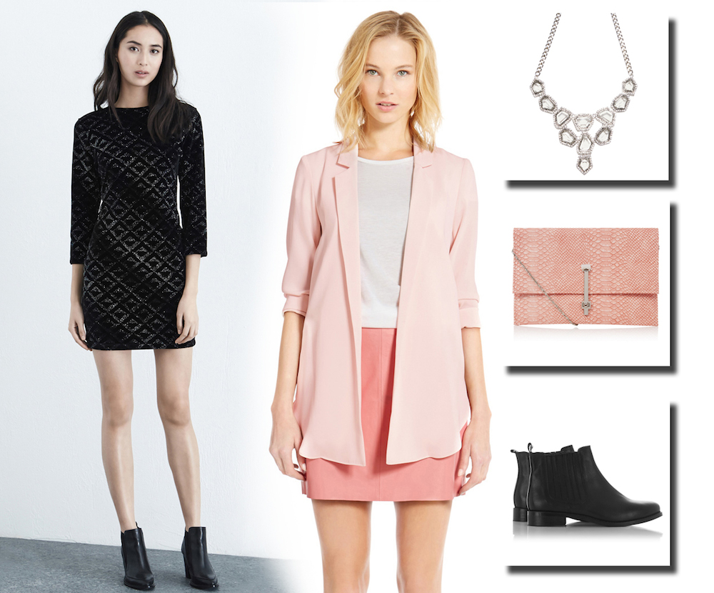 Christmas dress casual - Working The Casual Party Look Choose This Lovely Diamond Patterned Glittering Dress With A Subtle Pink Relaxed Blazer Teaming This With A Statement