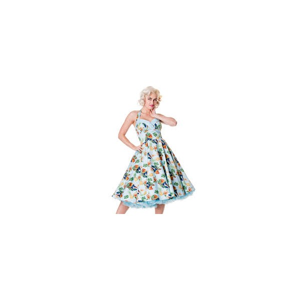 Vintage dresses parrot-swing-dress-blue