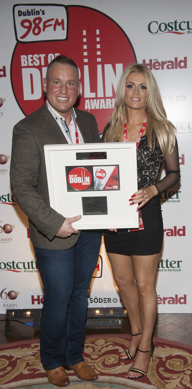Stephen Troy and Ronda Troy of Troy's Butchers, Moore Street pictured with an award for 'Best Butcher' at 98FM'S Best of Dublin Awards 2015 at Kilmainham Hospital. Pic Patrick O'Leary NO REPRO FEE