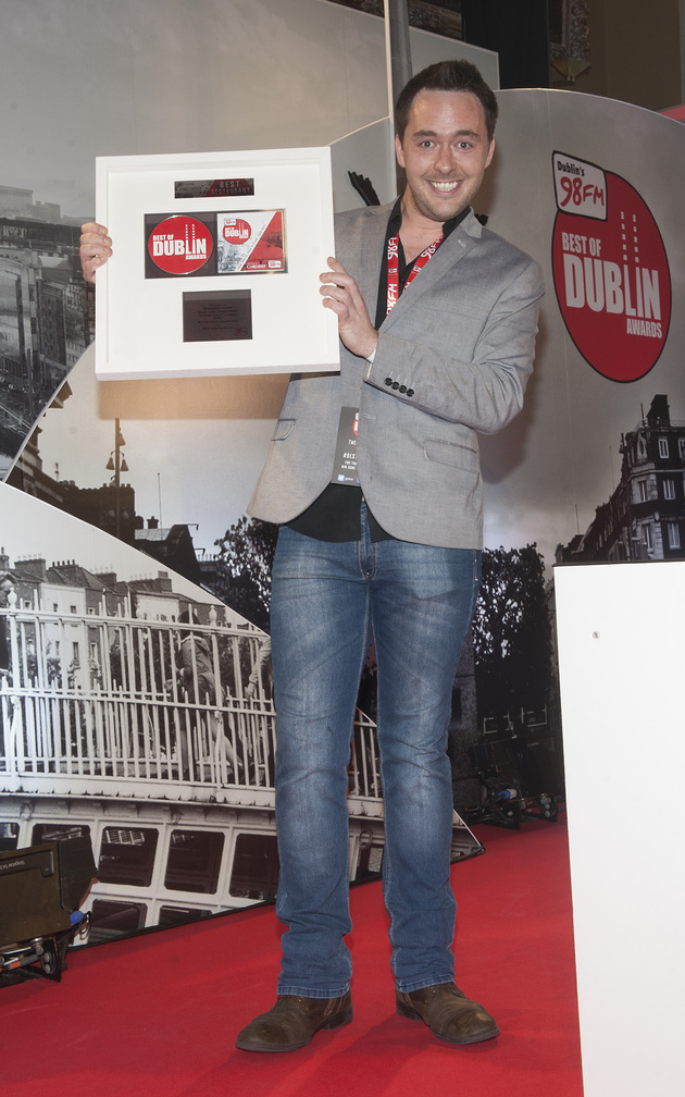 Anthony Nolan of Brasserie Sixty6, South Great Georges Street pictured with an award for 'Best Restaurant' at 98FM'S Best of Dublin Awards 2015 at Kilmainham Hospital. Pic Patrick O'Leary NO REPRO FEE