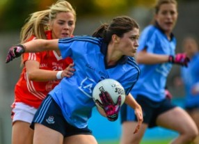5 September 2015; Olwen Carey, Dublin, in action against Aoife Lennon, Armagh. TG4 Ladies Football All-Ireland Senior Championship Semi-Final, Armagh v Dublin. Parnell Park, Dublin. Picture credit: Piaras Ó Mídheach / SPORTSFILE *** NO REPRODUCTION FEE ***
