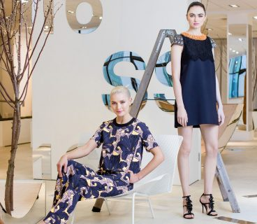 Models Teo and Maria showcasing the new Spring Summer 2016 Ladieswear collections and trends, from Arnotts on Tuesday 16th February. Teo wears Floral print top by Tara Jarmon: €180 Floral print trousers by Tara Jarmon: €260 Maria wears Crystal and lace embellished dress by Tara Jarmon: €885. Photo: Anthony Woods