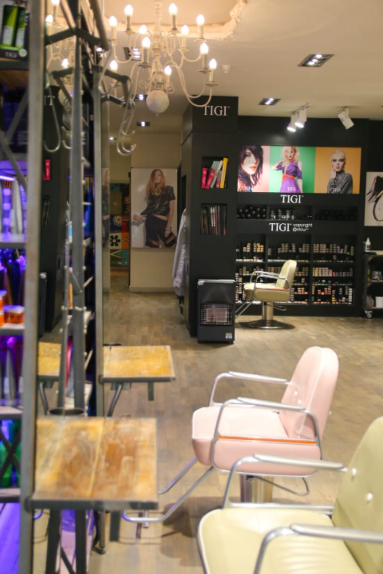 Edgy salon which encompasses urban street style mixed for A cutting edge salon