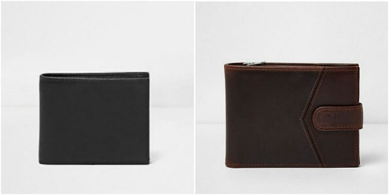 Black Leather Wallet 22 00 And Brown Textured Leather Tab
