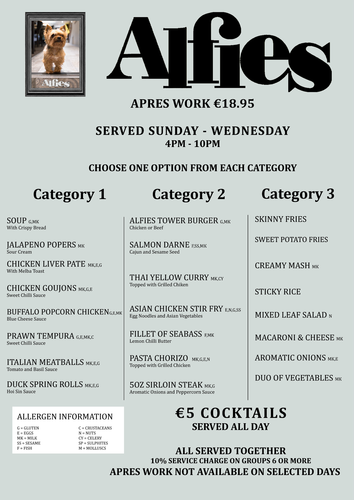 Apres Work Menu at Alfie's