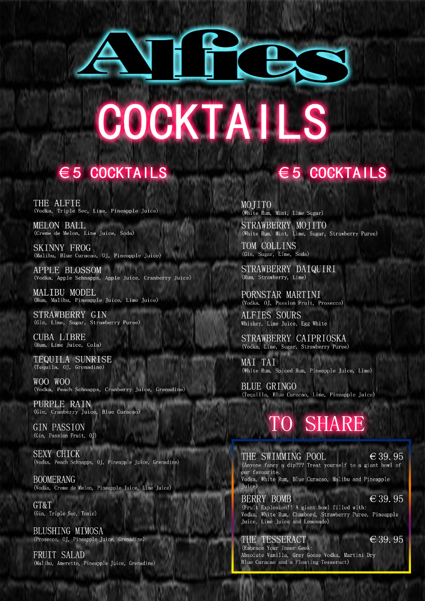 Drinks Menu at Alfie's