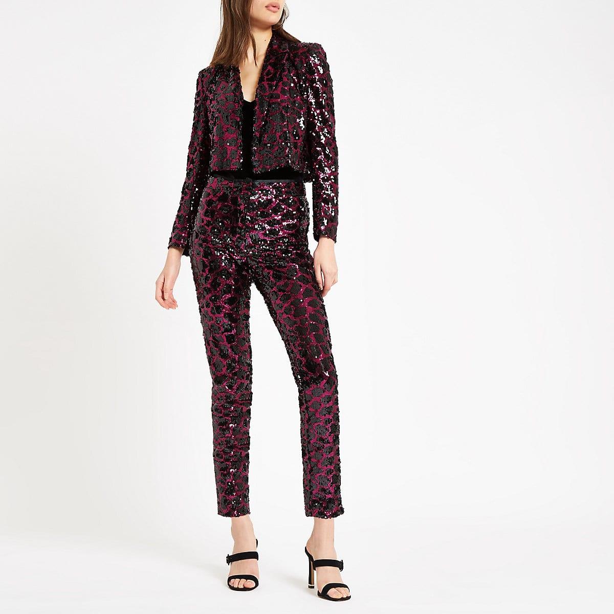 Blazers Dublin: Pink Leopard Print Sequin Blazer, €87